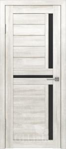 Дверь ГринЛайн Х-16 Белый ясень Черное стекло