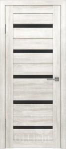Дверь ГринЛайн Х-7 Белый ясень Черное стекло