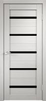 Дверь Стиль-1 Белёный дуб Чёрное стекло