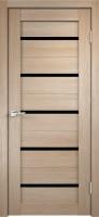 Дверь ГринЛайн Х-7 Капучино Черное стекло