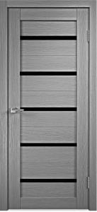 Дверь Стиль-1 Серый дуб Чёрное стекло